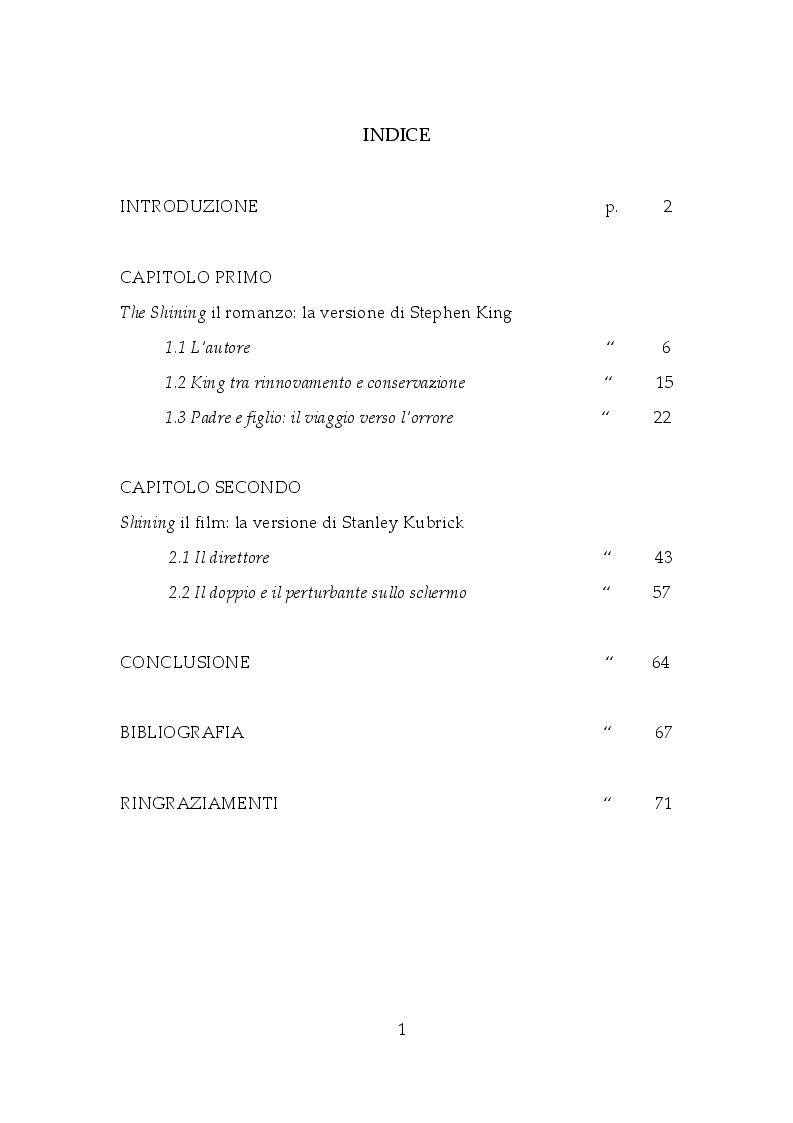 Indice della tesi: Shining: dall'orrore all'enigma, Pagina 1