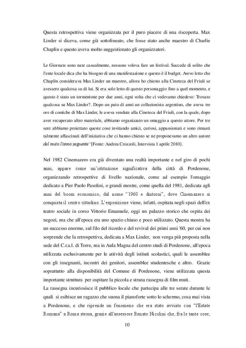 Estratto dalla tesi: Le Giornate del Cinema Muto: l'evoluzione istituzionale di una esperienza culturale