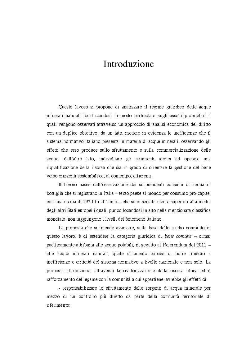 Analisi economica del diritto ed assetti proprietari: il caso delle acque minerali - Tesi di Laurea