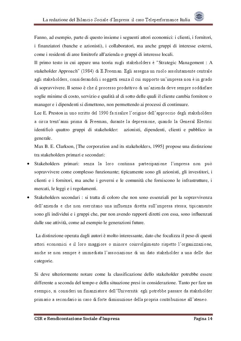 Estratto dalla tesi: La redazione del Bilancio Sociale d'Impresa: Il caso Teleperformance Italia