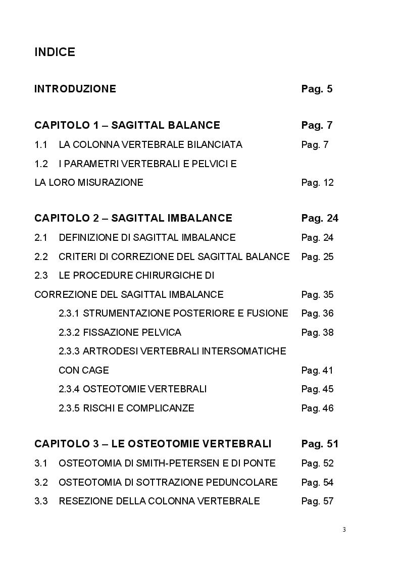 Indice della tesi: Le osteotomie vertebrali nel trattamento delle patologie spinali maggiori, Pagina 1