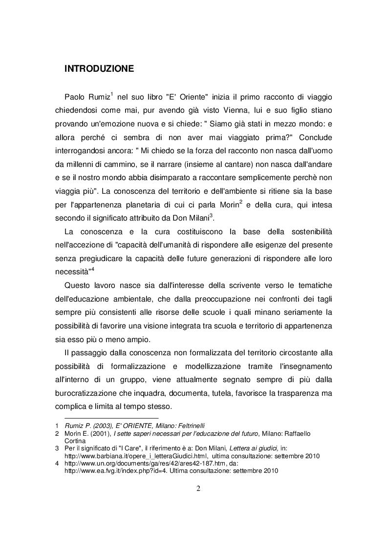 Anteprima della tesi: Scuole primarie e centri per l'educazione ambientale e alla sostenibilità in Friuli Venezia Giulia:, Pagina 2