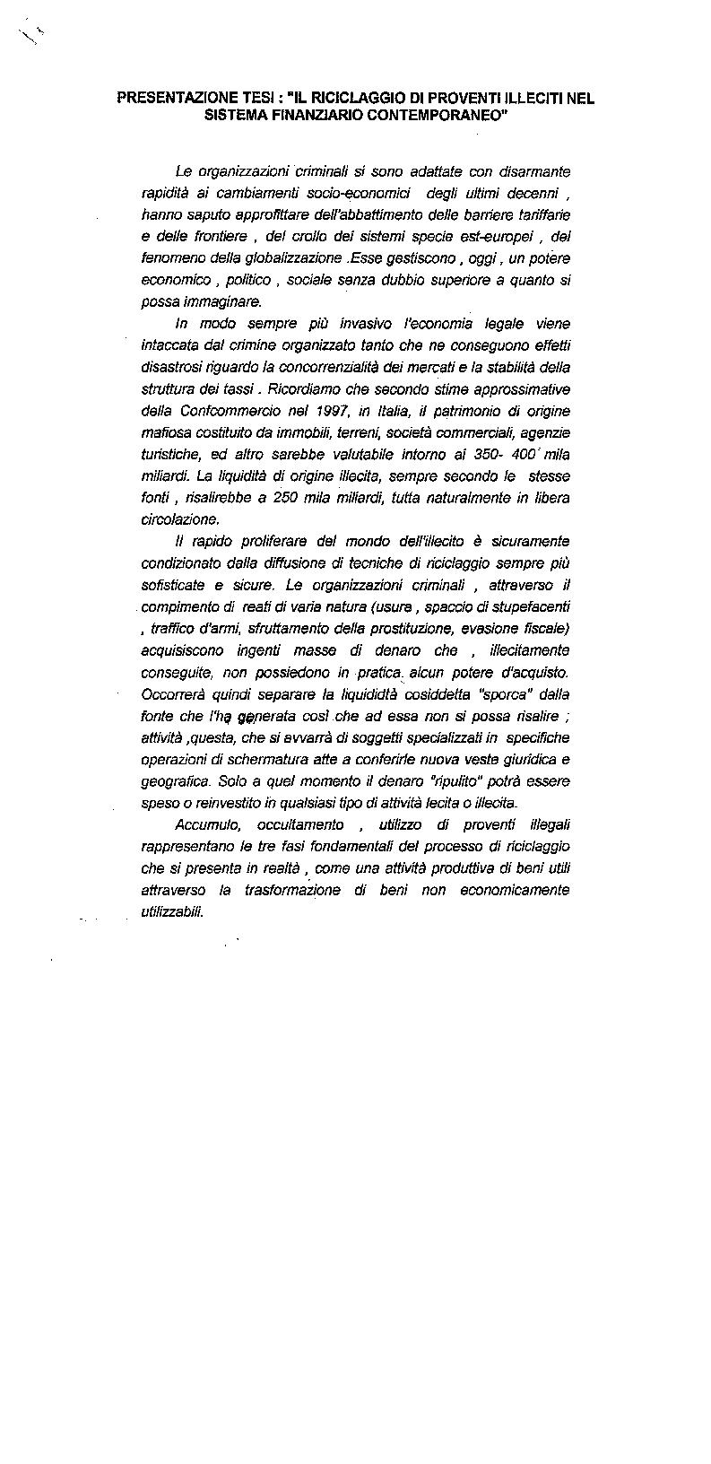 Anteprima della tesi: Il riciclaggio di proventi illeciti nel sistema finanziario contemporaneo, Pagina 1