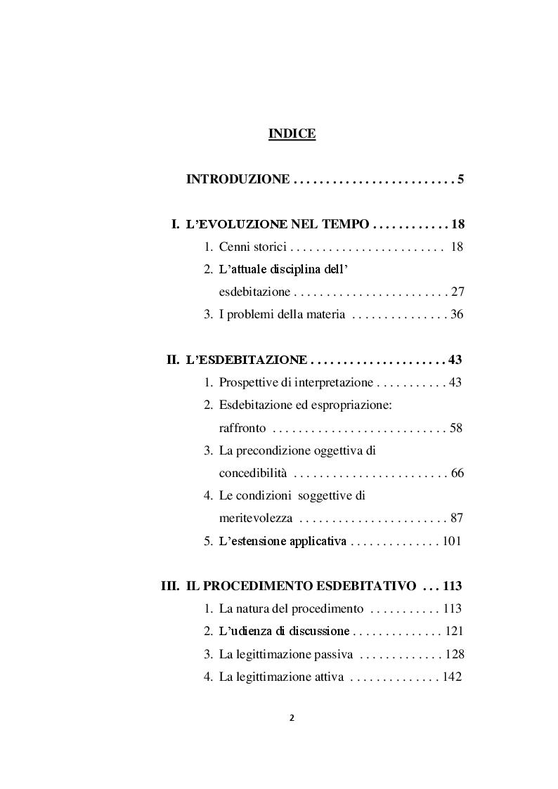 Indice della tesi: L'esdebitazione nel nuovo sistema di diritto fallimentare, Pagina 1