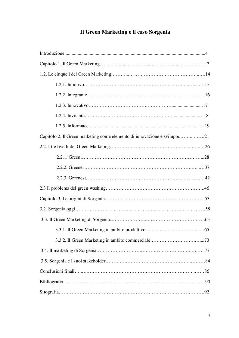Indice della tesi: Il green marketing e il caso Sorgenia, Pagina 1