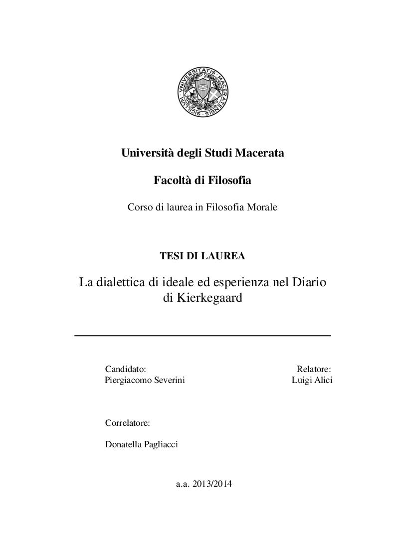 Anteprima della tesi: La dialettica di ideale ed esperienza nel Diario di Kierkegaard, Pagina 1
