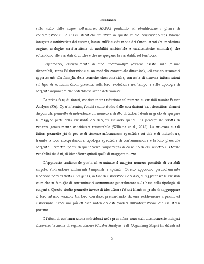 Estratto dalla tesi: Applicazione di tecniche di analisi statistica multivariata allo studio degli acquiferi del Milanese
