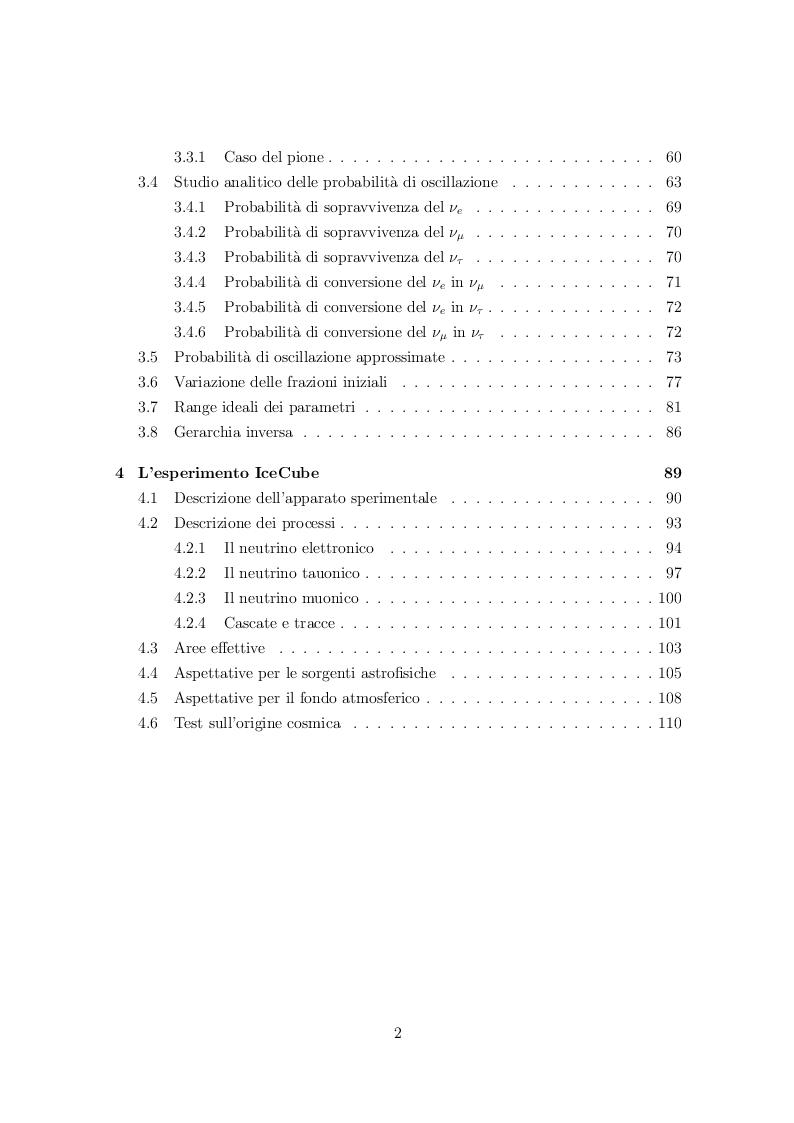 Indice della tesi: Fenomenologia delle oscillazioni di neutrini cosmici di alta energia, Pagina 2