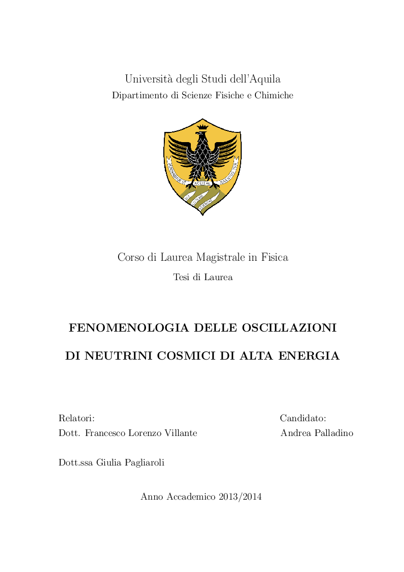 Anteprima della tesi: Fenomenologia delle oscillazioni di neutrini cosmici di alta energia, Pagina 1