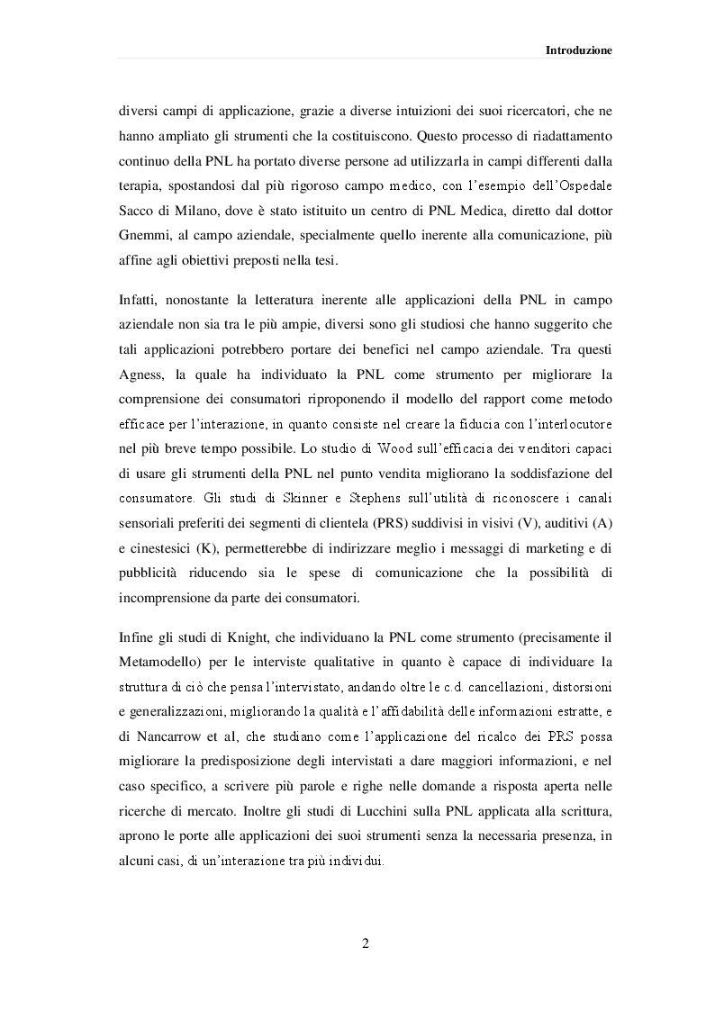Anteprima della tesi: La Programmazione Neurolinguistica e le decisioni di marketing nel punto vendita, Pagina 3