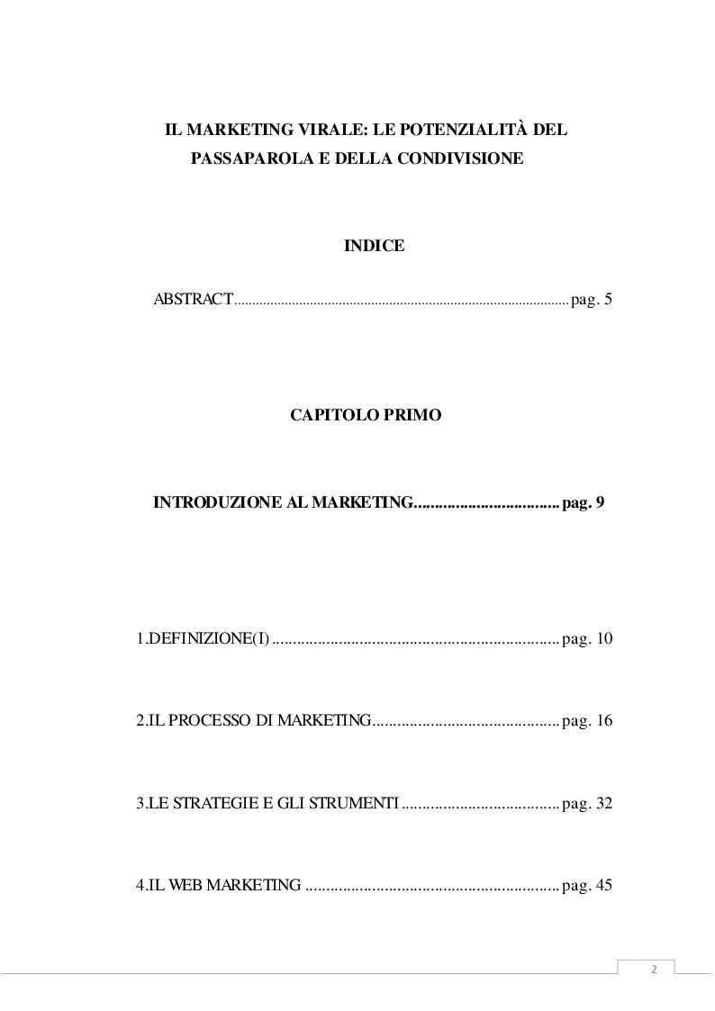 Indice della tesi: Il marketing virale: le potenzialità del passaparola e della condivisione, Pagina 1