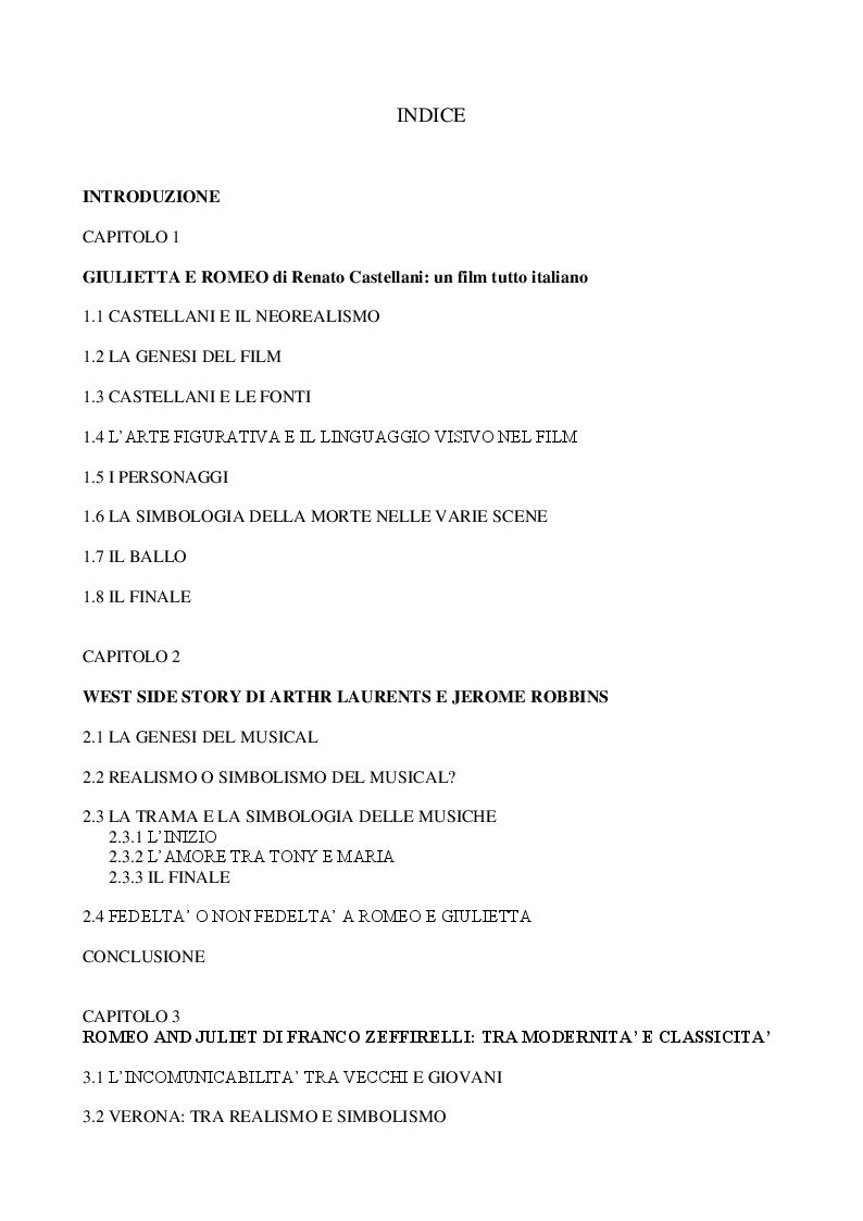 Indice della tesi: Romeo and Juliet: dalla scena allo schermo, Pagina 1