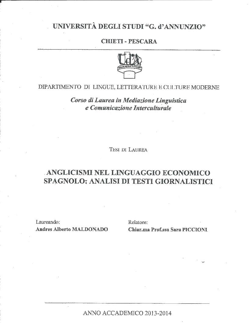 Anteprima della tesi: Anglicismi nel linguaggio economico spagnolo: Analisi di testi giornalistici, Pagina 1