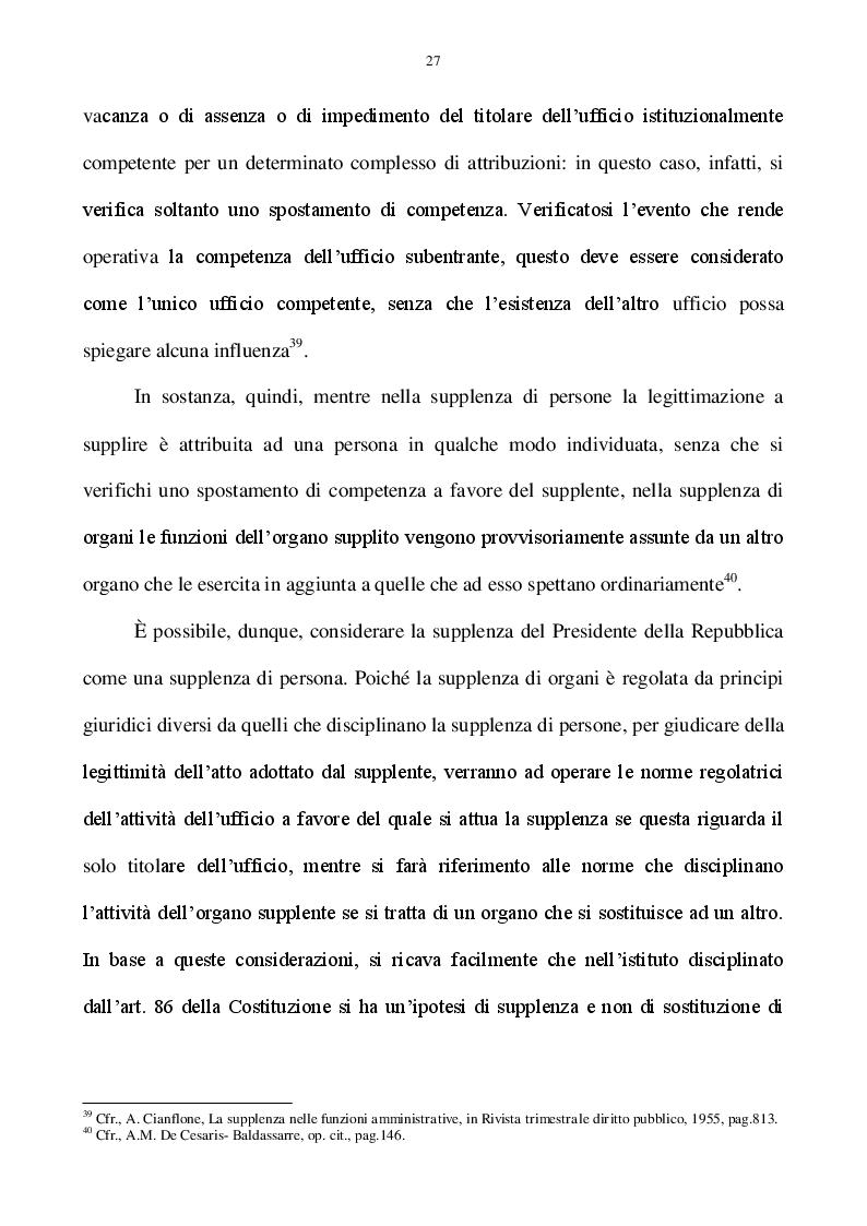 Estratto dalla tesi: La supplenza del Presidente della Repubblica nell'ordinamento costituzionale italiano