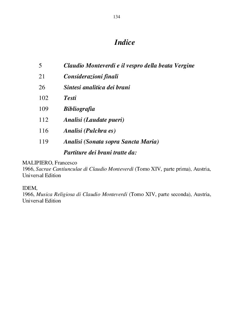 Indice della tesi: Il canto cristiano liturgico nel medioevo e il vespro della beata Vergine di Claudio Monteverdi, Pagina 1