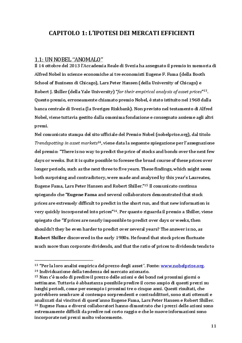 Estratto dalla tesi: La teoria dei mercati efficienti di Eugene Fama e la critica di Robert Shiller