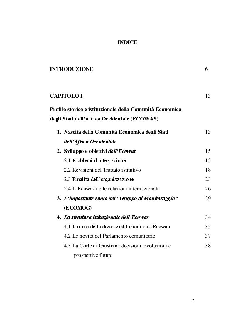 Indice della tesi: La Comunità Economica degli Stati dell'Africa Occidentale: profili comparatistici, Pagina 1