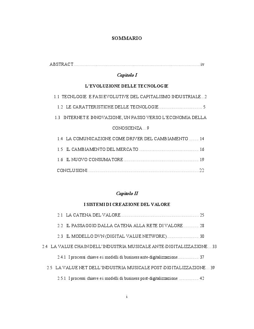Indice della tesi: La conversione dell'industria musicale attraverso le tecnologie digitali, Pagina 1