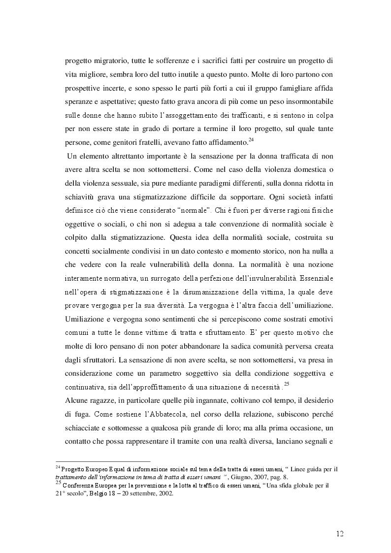 Estratto dalla tesi: Tratta e Prostituzione. Visioni, politiche, strategie di intervento