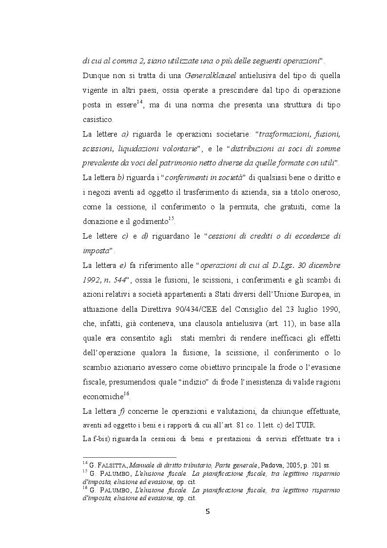 Estratto dalla tesi: L'elusione fiscale nelle operazioni straordinarie di conferimento, fusione e scissione