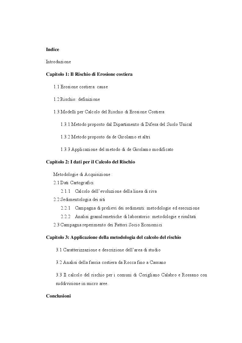 Indice della tesi: Analisi dell'evoluzione del litorale nel tratto di costa Jonica da  Rocca Imperiale fino a Rossano e valutazione del Rischio di  erosione per i comuni di Corigliano Calabro e Rossano., Pagina 1