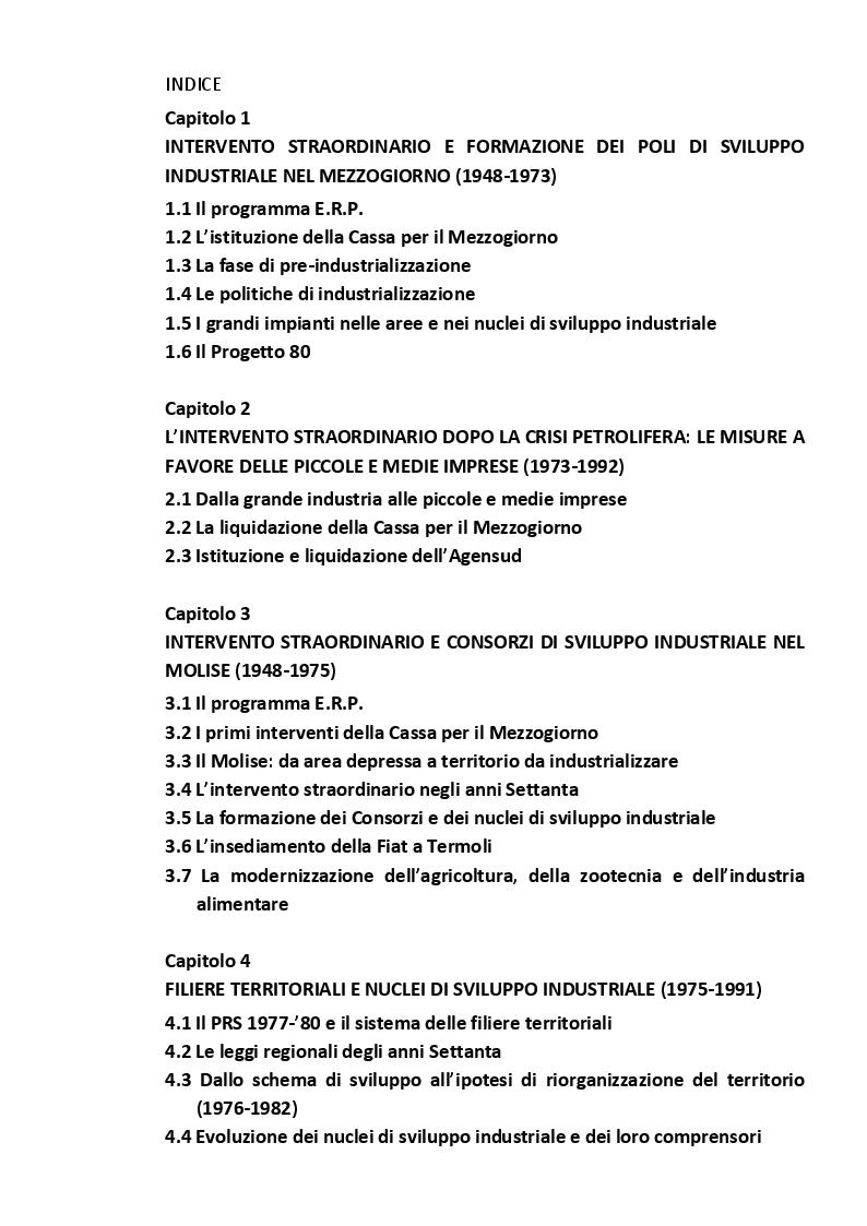 Indice della tesi: Politiche di sviluppo locale e strumenti di pianificazione del territorio nel Molise, Pagina 1