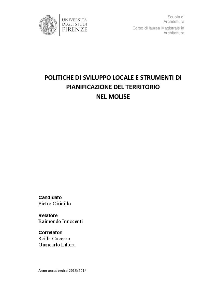 Anteprima della tesi: Politiche di sviluppo locale e strumenti di pianificazione del territorio nel Molise, Pagina 1