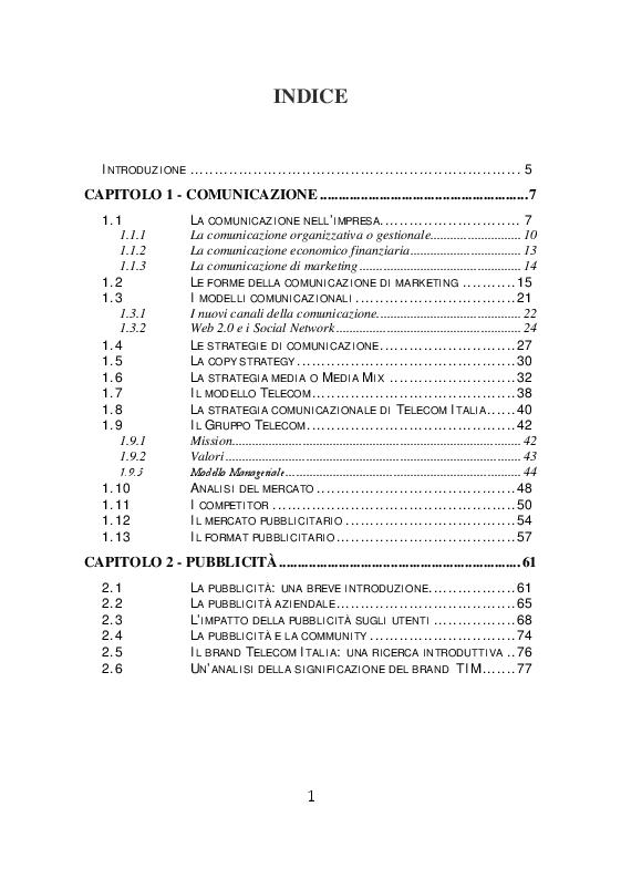Indice della tesi: Il testimonial nella comunicazione di Telecom Italia, Pagina 1
