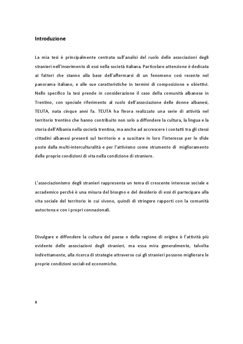 L'associazionismo degli stranieri in Italia - Il caso dell'associazione TEUTA - Tesi di Laurea