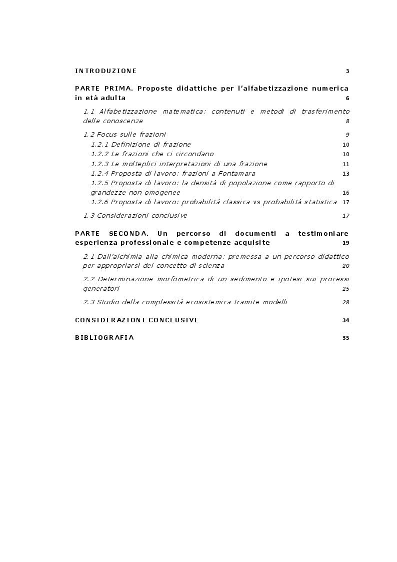 Indice della tesi: Proposte didattiche per l'insegnamento della matematica in età adulta, Pagina 1