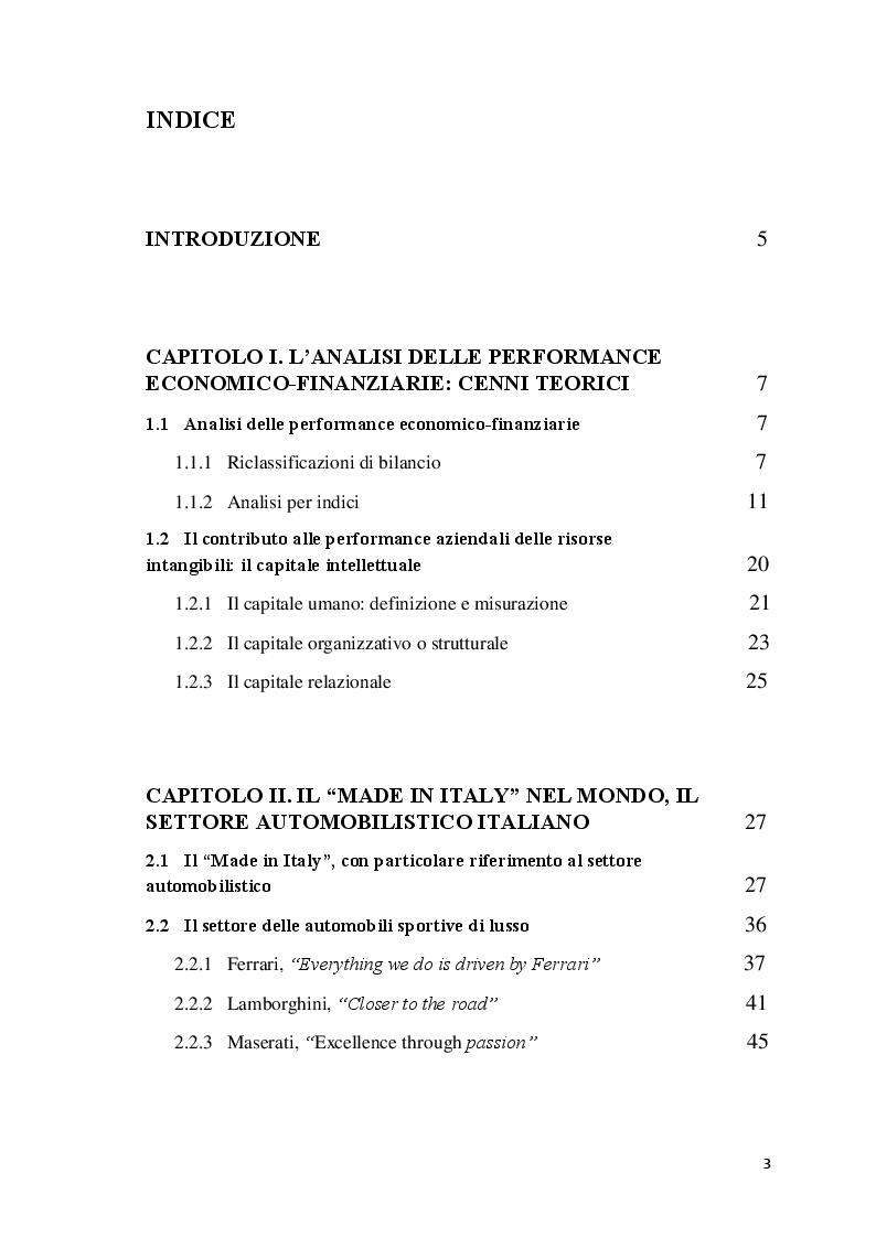 Indice della tesi: L'analisi delle performance economico-finanziarie dell'impresa: il settore delle automobili sportive di lusso, Pagina 1
