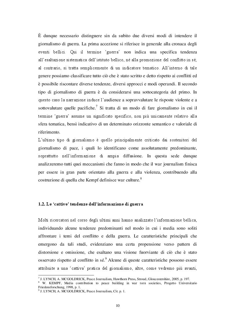 Estratto dalla tesi: Il Giornalismo di Pace. Modelli, Tecniche e Contenuti