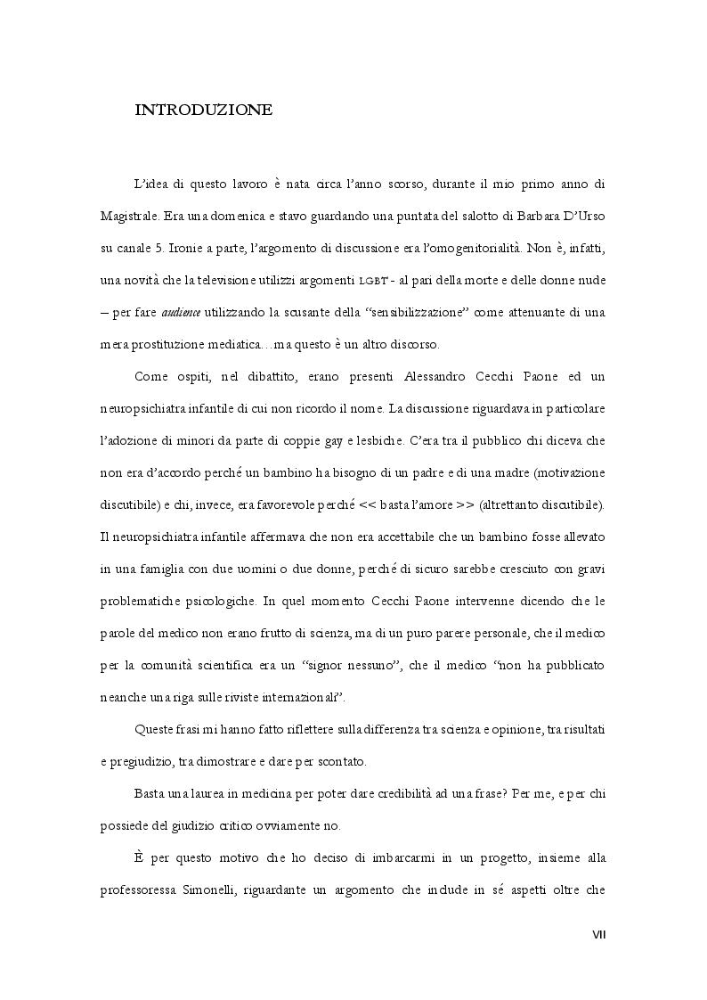 Omo - Vs Etero - Cogenitorialit�: attaccamento, personalit� e stigma sessuale in coppie italiane - Tesi di Laurea