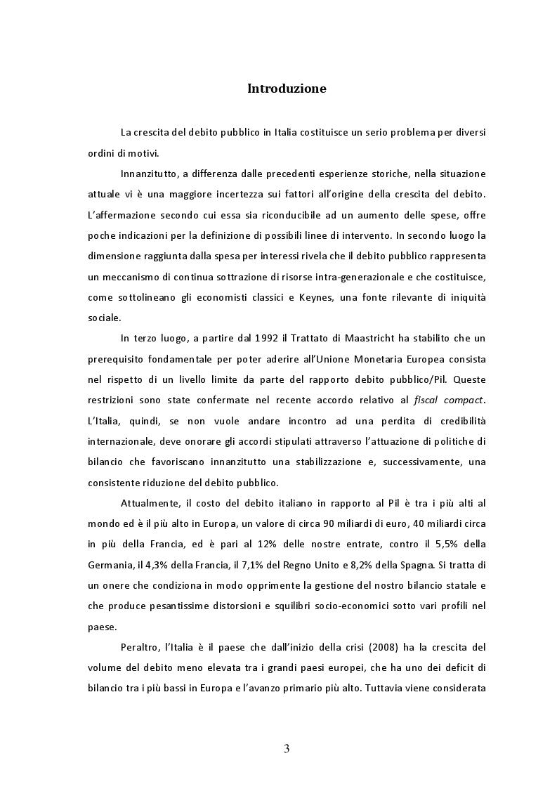 Il debito pubblico in Italia: l'evoluzione storica e l'incidenza della spesa per interessi dagli anni '90 ad oggi - Tesi...