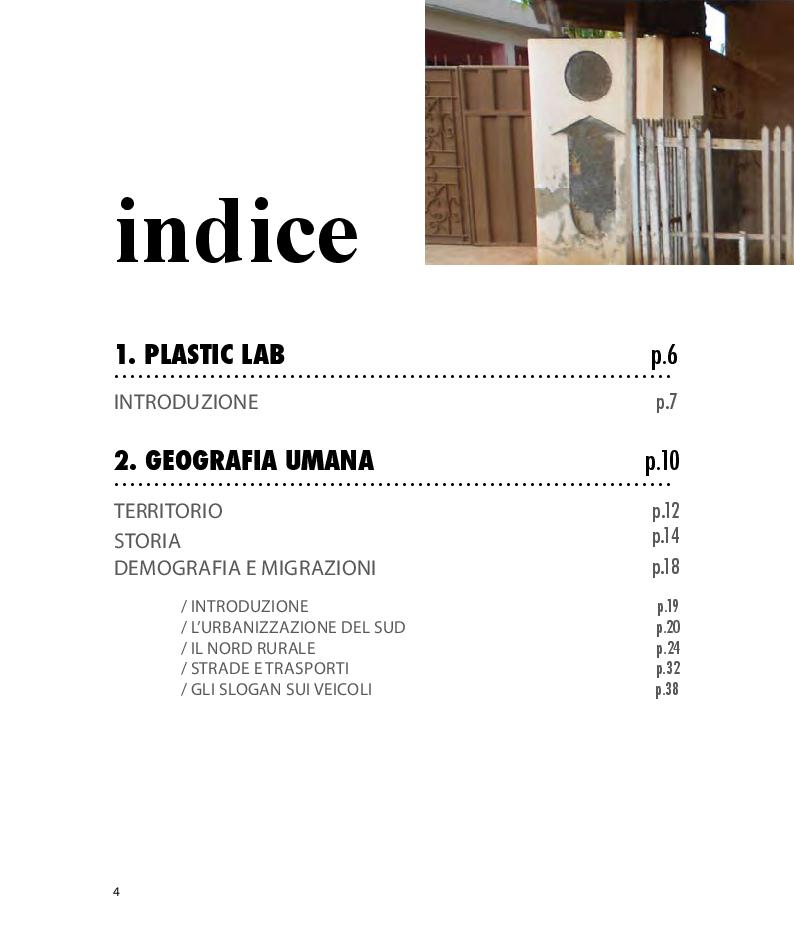 Indice della tesi: PLASTIC LAB_Proposta di un laboratorio per il corretto uso dell'acqua e il riciclo della Plastica nel villaggio di Fufulsu in Ghana, Pagina 1