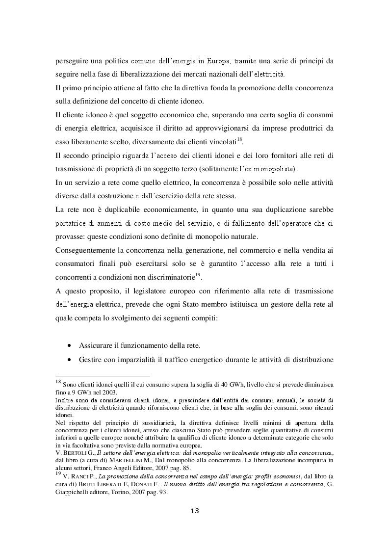 Estratto dalla tesi: La liberalizzazione del mercato elettrico italiano