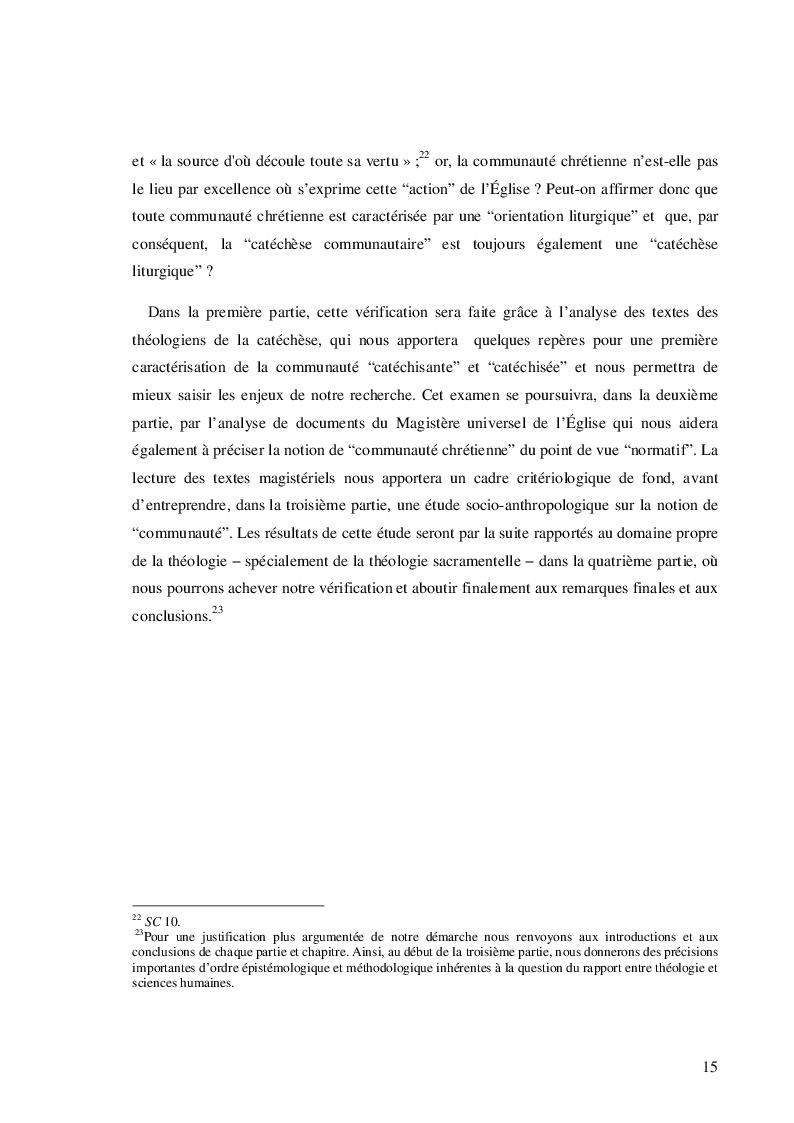 Estratto dalla tesi: Catéchèse et communauté (Catechesi e comunità)