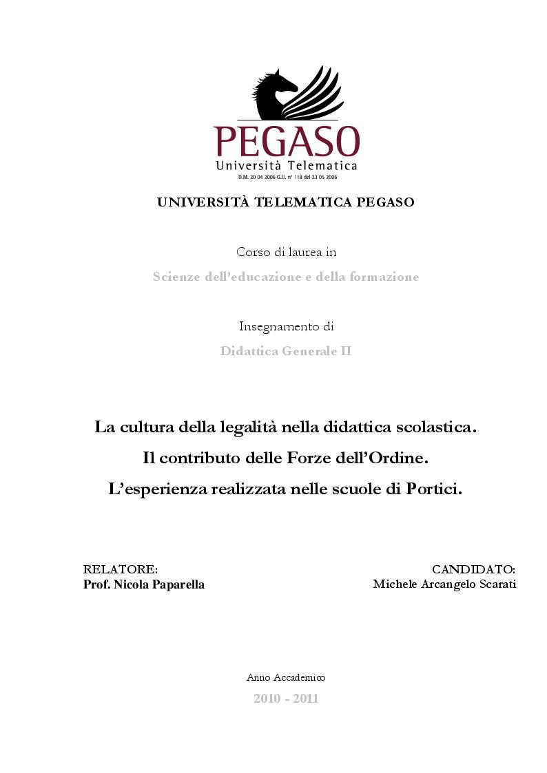 Anteprima della tesi: La Cultura della Legalità nella didattica scolastica. Il Contributo delle Forze dell'Ordine. L'esperienza realizzata nelle scuole di Portici, Pagina 1