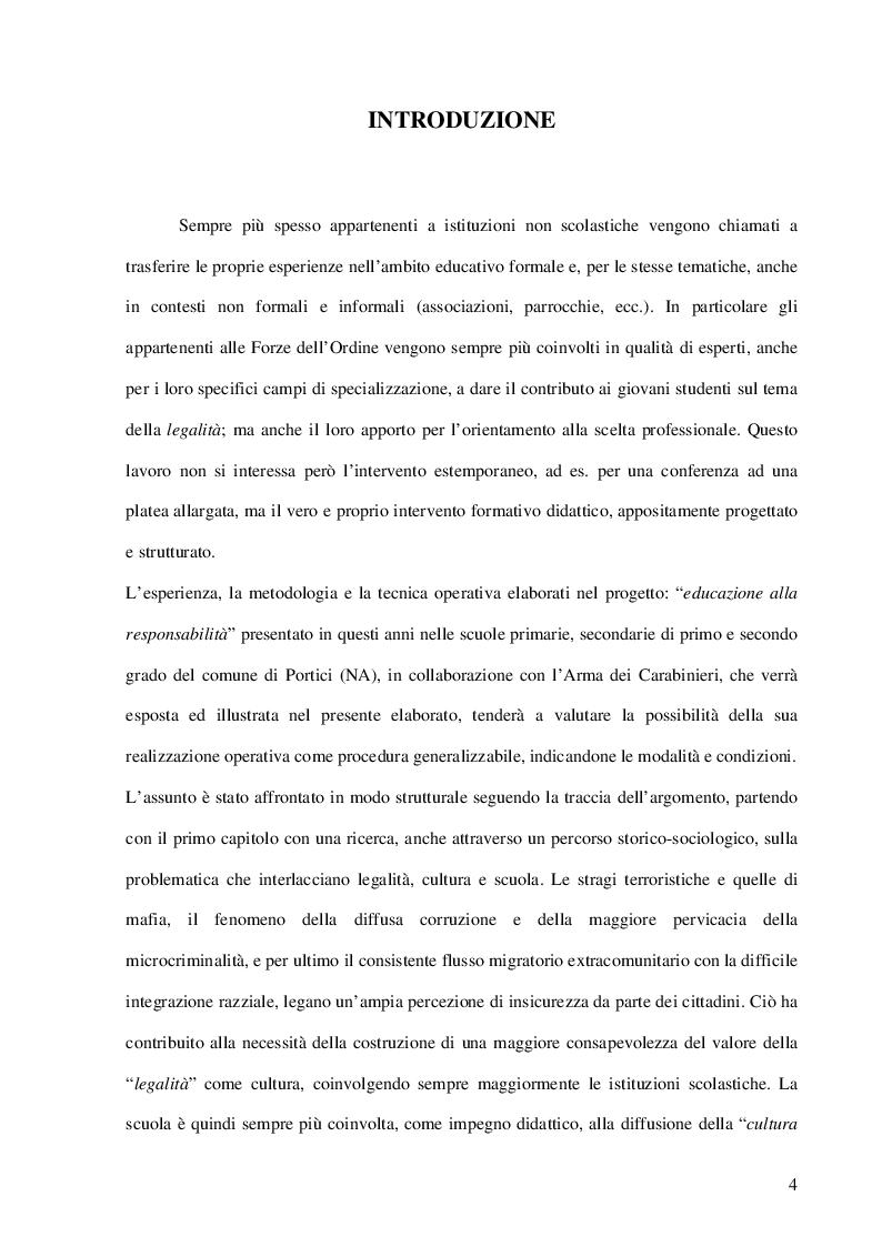 Anteprima della tesi: La Cultura della Legalità nella didattica scolastica. Il Contributo delle Forze dell'Ordine. L'esperienza realizzata nelle scuole di Portici, Pagina 2
