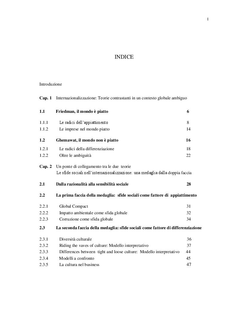 Indice della tesi: Le Sfide Sociali nel Processo di Internazionalizzazione, Pagina 1