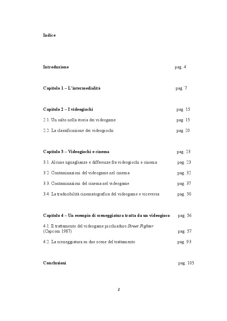Indice della tesi: Cinema e videogame, una convergenza inaspettata, Pagina 1