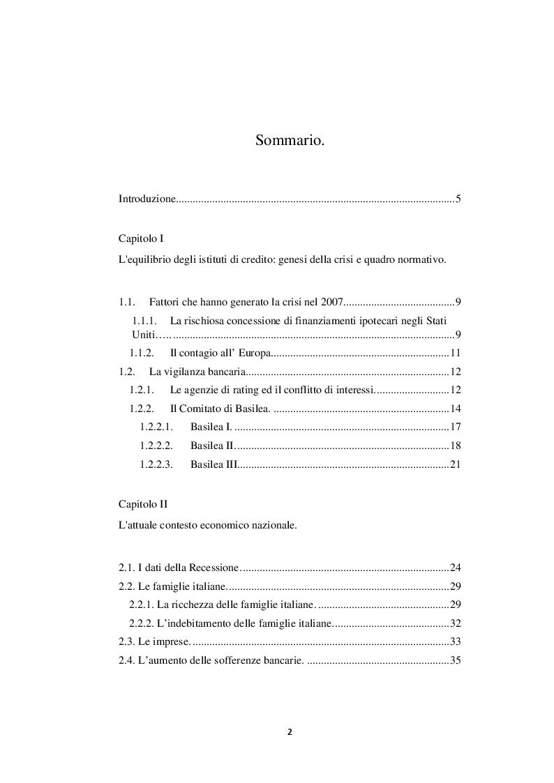 Indice della tesi: La relazione tra banche e territorio: rischi, opportunità ed influenza sul credito, Pagina 1