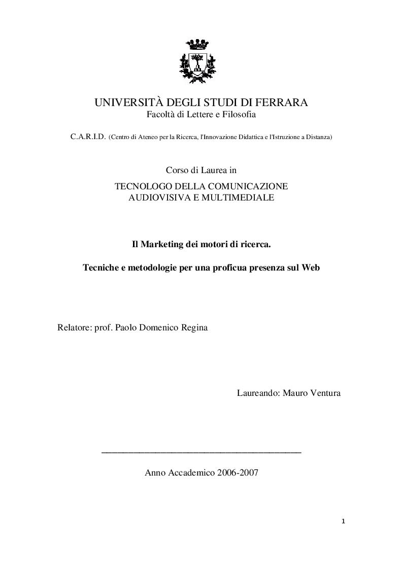 Anteprima della tesi: Il marketing dei motori di ricerca. Tecniche e metodologie per una proficua presenza sul web, Pagina 1