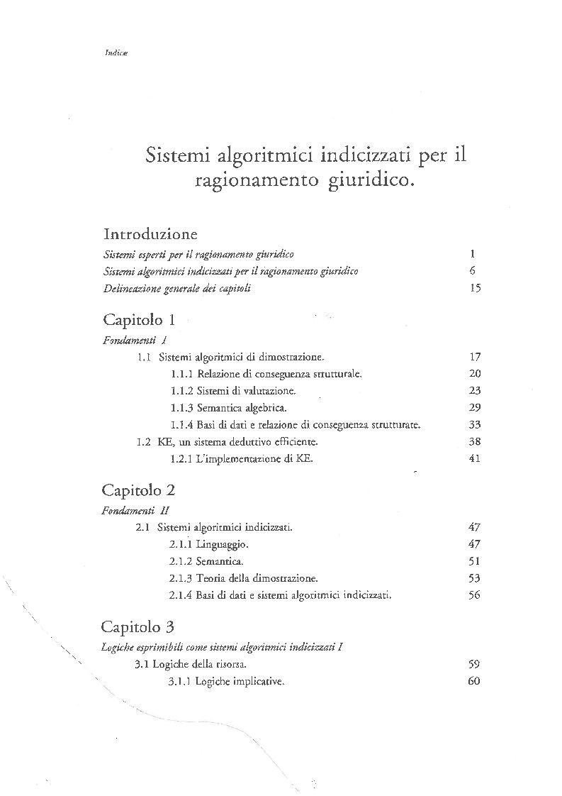 Indice della tesi: Sistemi Algoritmici Indicizzati per il Ragionamento Giuridico, Pagina 1