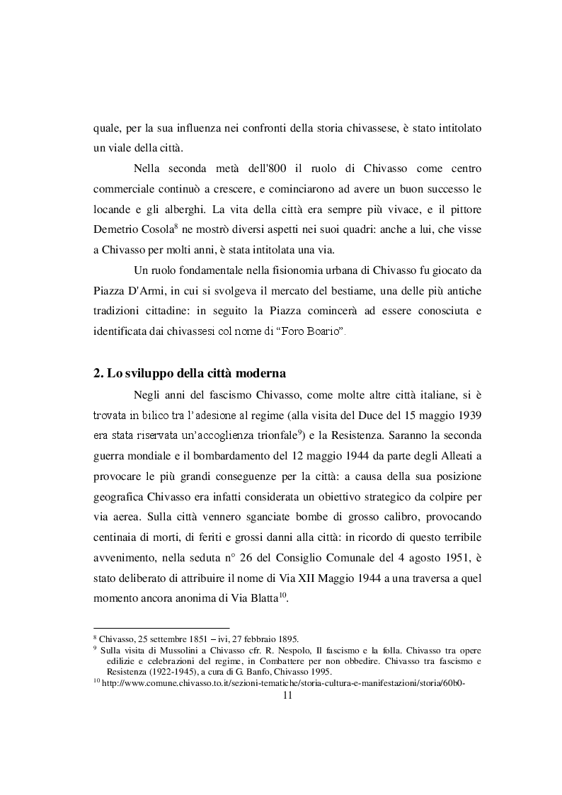 Estratto dalla tesi: Mutamenti nell'odonimia di Chivasso dal secondo Dopoguerra agli anni Ottanta
