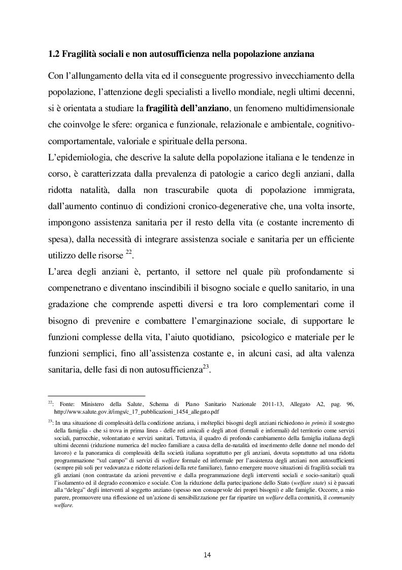Estratto dalla tesi: Le politiche di welfare nel sistema dei servizi sociali e socio sanitari per anziani in Italia. Due modelli di welfare a confronto
