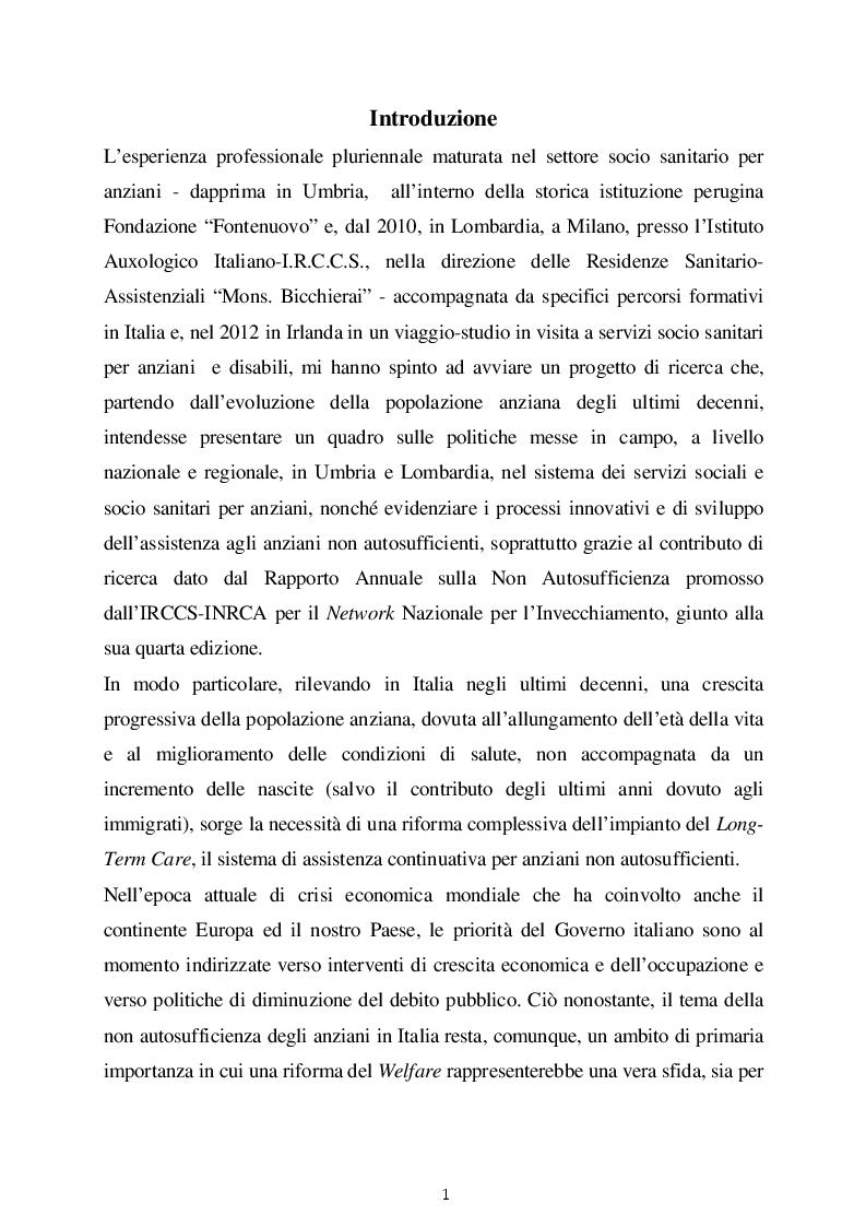 Le politiche di welfare nel sistema dei servizi sociali e socio sanitari per anziani in Italia. Due modelli di welfare a...