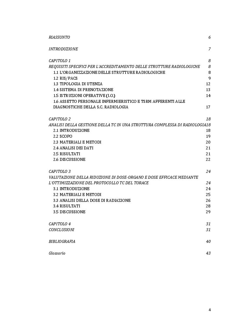Indice della tesi: Impatto della TC a bassa dose nella gestione dei pazienti con malattia polmonare: aspetti tecnici e organizzativi., Pagina 1