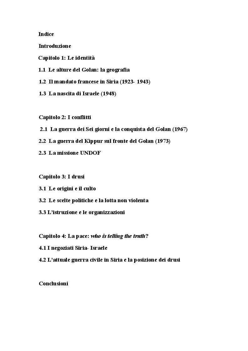 Indice della tesi: Le alture del Golan: fattori di guerra e di pace in Medio Oriente, Pagina 1