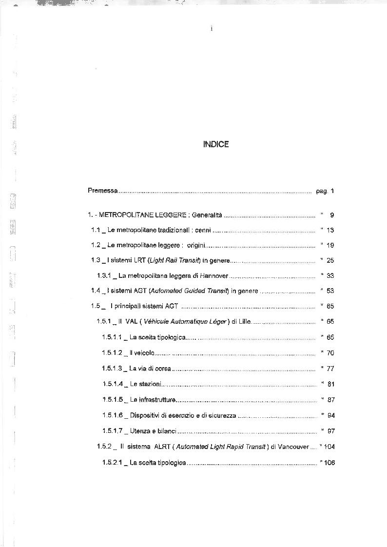 Indice della tesi: Il trasporto pubblico di massa a guida vincolata - Strategie ed ipotesi per la città di Palermo, Pagina 1